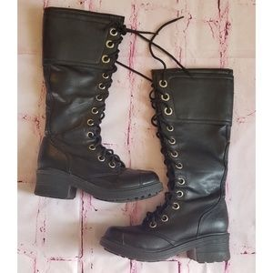 Mid High Lace Heeled Combat Boots